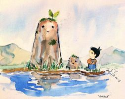 Watercolor Practice: A Pond of my Childhood by JanusL