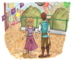 WDWs Rapunzel and Flynn by ThEsIlKe