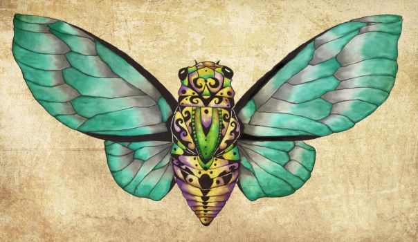Cicada Dream Blue-Green by tanyadavisart