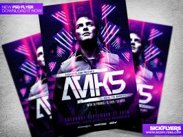 Electro Dance Music Concert Flyer Template PSD by Industrykidz