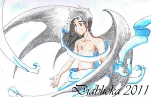 Archdevil Night blue ribbons by Diablicka