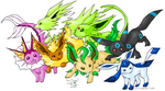 """Shiny"" Eevee evolutions by BatChili"