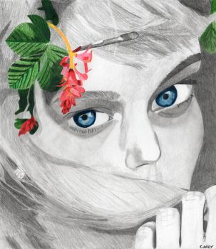 Flowers in Your Hair Drawing by Zanthrax2650