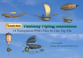 Fantasy Flying Machines PNG Stock Pack by Jumpfer-Stock