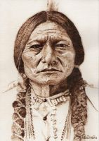 Sitting Bull - Pyrography on paper by tikvaart