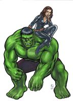 Hulk and Black Widow inked by huy-truong