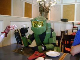 Master Chief at a restaurant by Gubreez