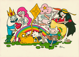 The Adventure Time Gang Chilling Out by Tsumugari
