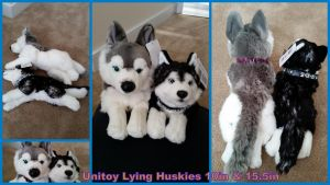 Unitoy Lying huskies 10in and 15in by Vesperwolfy87