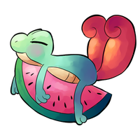 Watermelon Treecko by H-o-s-h-i-k-o