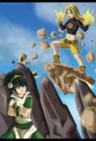 Battle of the Earthbenders: Terra VS Toph by Grim-Raider
