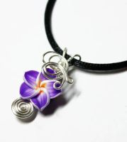 Wire Wrap Violet Plumeria Perfume Pendant by Create-A-Pendant