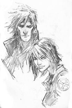 Gambit and  Rogue by aaronminier