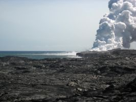 Lava field steam plume 2 by GreenEyezz-stock