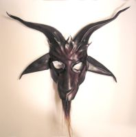 Baphomet Leather Mask with red by teonova