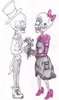 Sugar Skull Couple-Unfinished by Caylyngasm