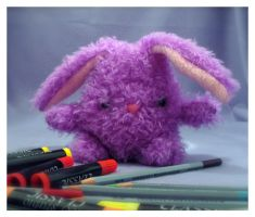 Purple Fuzzy Grumpy Bunny by csgirl