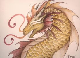 Golden Waterdragon by Saraais