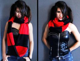 Black Red Infinity Scarf by ForAllEternitie