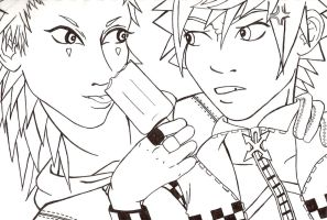 axel and roxas by kamikazechick