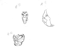 Caterpie Metapod Butterfree by gir-is-me