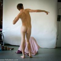 Standing Male Nude, pointing by TheMaleNudeStock