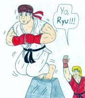 TinyHammer's request - Ryu and Ken by Jose-Ramiro
