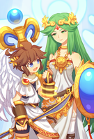 Pit and Palutena by Wusagi2