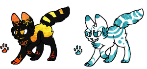 Water and Lava cat adopts CLOSED by BlackyPaws