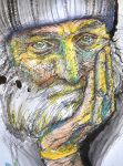 Old Man in Ink and Watercolor by IsabelleMaria