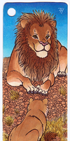 Lounging Lion Pair Bookmark by ZoeHildebrand-R