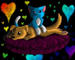 Catbread-Rainbows B-day gift by Lucieniibi