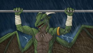 [COM] Chin ups in the storm by Kitsune-Nyx
