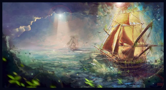 Sailing in the Sea by Sentient-Phyton