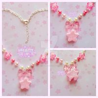 Sweet Twinkle Star Macaron Necklace- Pink x Cream by DreamyNebula