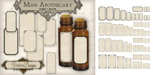 Printable Mini Blank Apothecary Labels by VectoriaDesigns