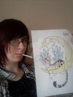 Me With My Drawing ''Beauty of The Moon'' by LilNekoKatz