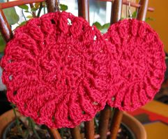 Large Sexy Crochet Earrings in Red Egyptian Cotton by doilydeas