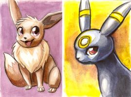 Eevee + Umbreon Watercolors by OrcaOwl