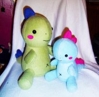 Big Little Zilla IV and Baby by StitchyGirl