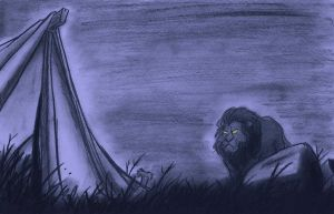 A lion approaches the campsite. by Snipetracker