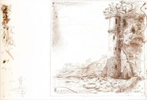 Coastal Tower Pen and Ink by AncientSources