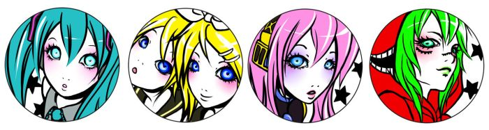 vocaloid badge designs by CooLtshuck