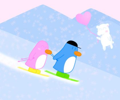 Penguims - Skiing by PhantomDog
