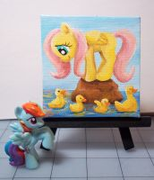 Fluttershy Mini Painting by CadmiumCrab