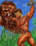 Kaanga and a Lion - Coloured by Teracles