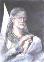 Thingol after Luthien's Death by Artafindushka