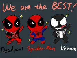 Spider-Man, Deadpool and Venom by SylvieZ