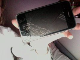 my cracked phone screen :( by olivia9987