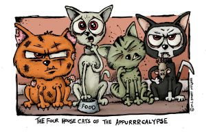 Four House Cats of the Appurrrcalypse by stuartmcghee